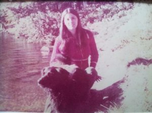 Trish in Pennypack Creek, Philly, with Moonshadow